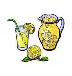 Lemonade jug glass lemon juice straw vector