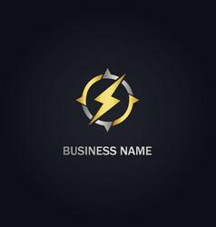 light bolt electric round circle gold logo vector image