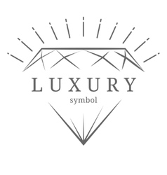 Luxury diamond gem contour symbol vector