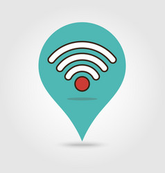 map marker with wifi signal icon map pin vector image