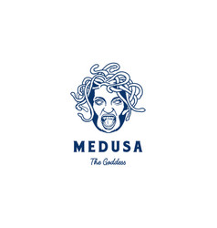 medusa the greek goddess head face with snake vector image