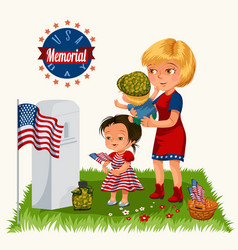 Memorial day mother with child on cemetery vector
