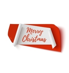 Merry Christmas red and white abstract banner vector