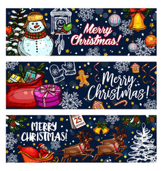 merry christmas sketch greeting banners vector image