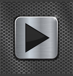 Metal square play button on perforated background vector