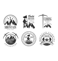 mountain rock climbing retro logo set rock sport vector image