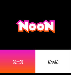 noon logo abstract sign pink neon light vector image