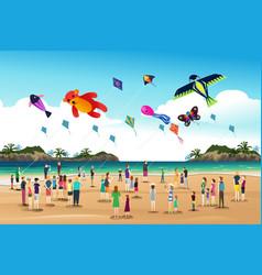 People flying kites at kite festival vector