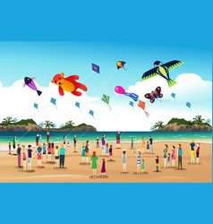 People flying kites at the kite festival vector