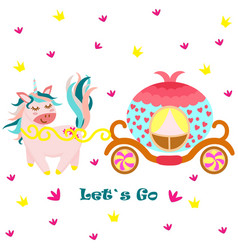 poster with unicorn and princess carriage vector image