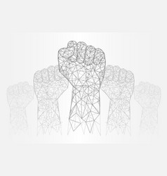 raised hands polygonal art style vector image