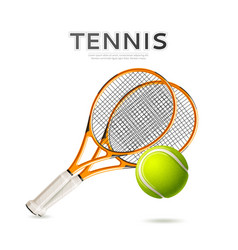 realistic tennis rackets and ball 3d icon vector image