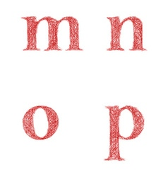 Red sketch font set - lowercase letters m n o p vector