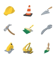 Road tools icons set cartoon style vector image