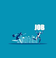Robot take up job concept business vector