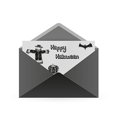 Scarecrow bat and pumpkin and envelope vector