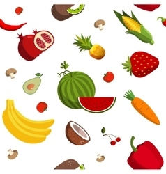 Seamless fruit and vegetable pattern vector