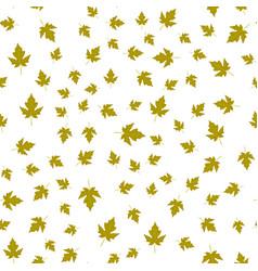 Seamless pattern of autumn green leaves randomly vector
