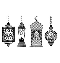 set arabic lanterns vector image