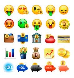 set cute smiley emoticons emoji design vector image