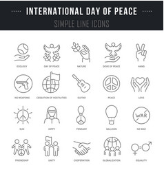 set line icons international day peace vector image
