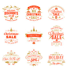 Set of christmas sale vintage badges typographic vector