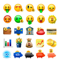 Set of cute smiley emoticons emoji design vector