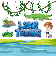 Set of lake lake theme vector