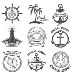 Set of nautical emblems isolated on white vector
