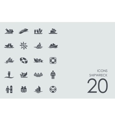 Set of shipwreck icons vector image