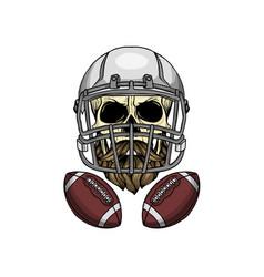 sketch color skull american football vector image