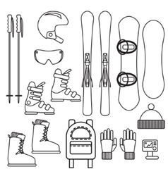 Ski and snowboard gear line icon set vector image