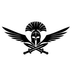 Spartan helmet with swords and wings vector