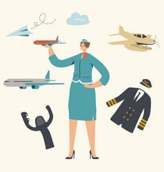 stewardess character wearing uniform holding vector image
