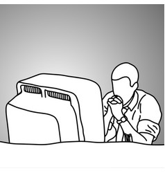 stressed businessman looking at big computer vector image vector image