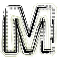Technological font LETTER M vector