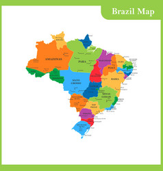 the detailed map of the brazil vector image