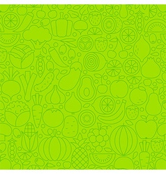 Thin Line Green Eat Healthy Vegetarian Seamless vector