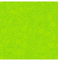 Thin Line Green Eat Healthy Vegetarian Seamless vector image