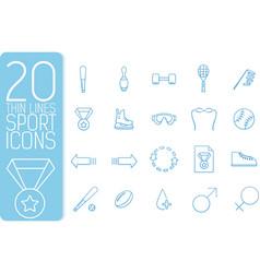 thin line sport set icons concept design vector image