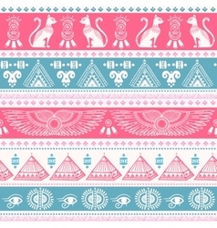 tribal ethnic seamless pattern with egypt symbols vector image