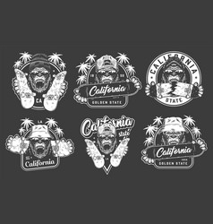 Vintage skateboarding emblems set vector