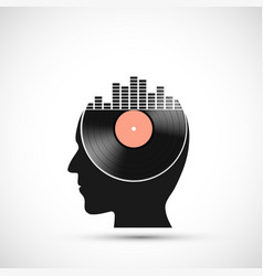 vinyl record disc with a sound equalizer vector image