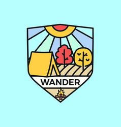 wander logo emblem template adventure label vector image