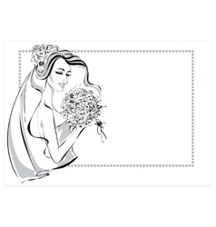 Wedding Day invitation with beautiful fiancee vector