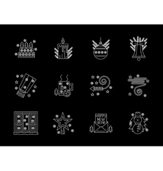 White line X-mas icons set vector image