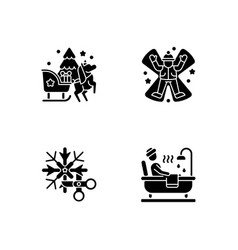 winter holiday entertainment black glyph icons vector image
