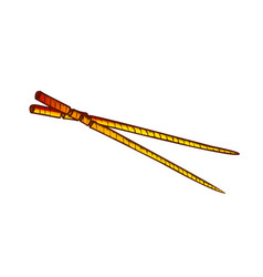 Wooden chopsticks eating tool color vector