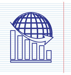 declining graph with earth navy line icon vector image