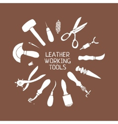 Hand drawn Leather craft tools vector image
